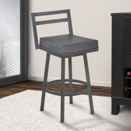 "Moniq 26"" Counter Height Metal Swivel Barstool in Vintage Gray Faux Leather and Mineral Finish"