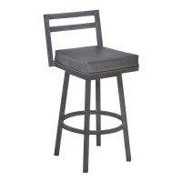 "Armen Living Moniq 30"" Bar Height Metal Swivel Barstool in Vintage Gray Faux Leather and Mineral Finish"