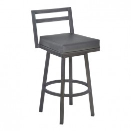 "Moniq 30"" Bar Height Metal Swivel Barstool in Vintage Gray Faux Leather and Mineral Finish"