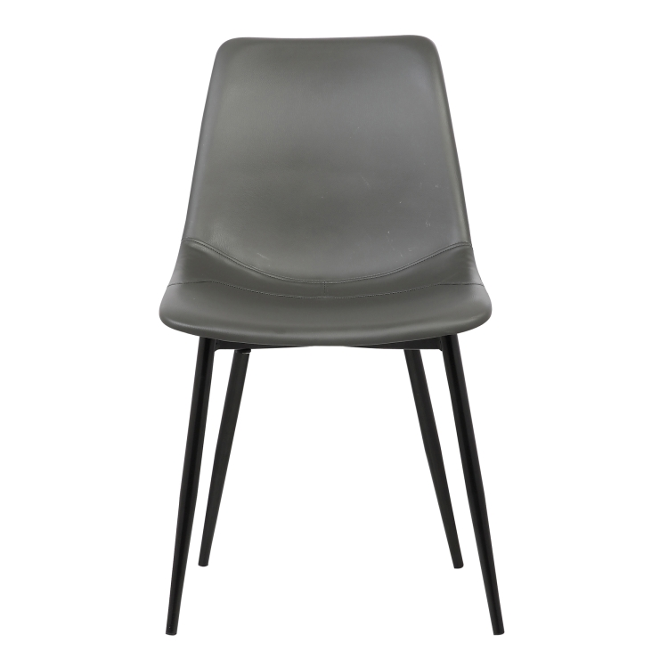 Armen living monte contemporary dining chair in gray faux for Leather dining chairs with metal legs