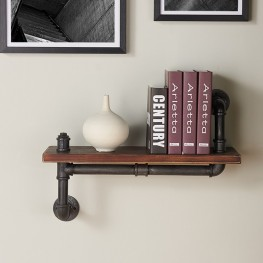 "Armen Living 24"" Montana Industrial Walnut Wood Floating Wall Shelf in Silver Finish"