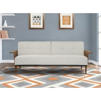 Armen Living Monroe Mid-Century Convertible Futon in Beige Tufted Fabric and Walnut Wood