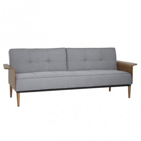 Armen Living Monroe Convertible Mid-Century Futon Sofa Bed in Gray Tufted Fabric and Walnut Wood