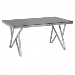 Mirage Contemporary Dining Table in Brushed Stainless Steel and Gray Tempered Glass Top