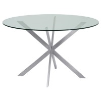 Mystere Round Dining Table in Brushed Stainless Steel with Clear Tempered Glass Top