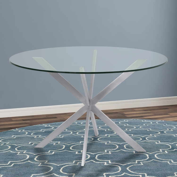 3pc Black Temper Glass Tops Metal Legs Coffee Table W: Armen Living Mystere Round Dining Table In Brushed