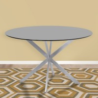 Armen Living Mystere Round Dining Table in Brushed Stainless Steel with Gray Tempered Glass Top