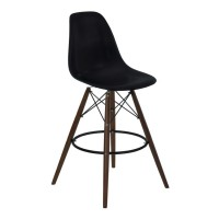 Armen Living Nicos Mid-Century Barstool in Walnut Wood and Durable Molded Plastic Black Seat