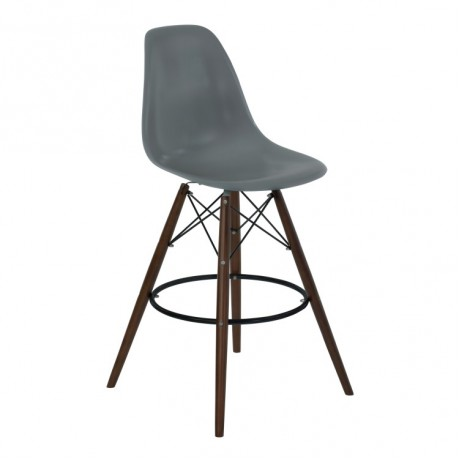 Armen Living Nicos Mid-Century Barstool in Walnut Wood and Durable Molded Plastic Gray Seat
