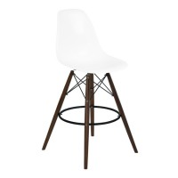 Armen Living Nicos Mid-Century Barstool in Walnut Wood and Durable Molded Plastic White Seat