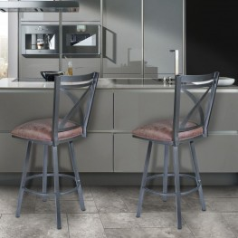 "Armen Living Nova 30"" Barstool in Mineral finish with Bandero Tobacco upholstery"