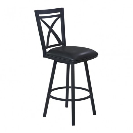 "Armen Living Nova 30"" Bar Height Metal Swivel Barstool in Ford Black Pu and Black Finish"