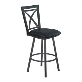"Armen Living Nova 26"" Counter Height Metal Swivel Barstool in Ford Black Pu and Mineral Finish"