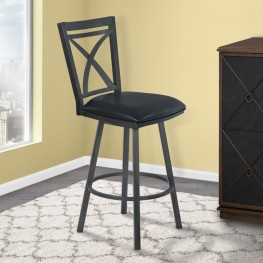 "Armen Living Nova 30"" Bar Height Metal Swivel Barstool in Ford Black Pu and Mineral Finish"
