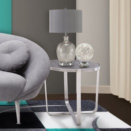 Nova End Table in Brushed Stainless Steel with Gray top