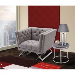 Odyssey Sofa Chair in Brushed Steel finish with Gray Tweed upholstery and Black Nail heads