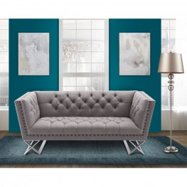 Armen Living Odyssey Loveseat  in Brushed Steel finish with Gray Tweed upholstery and Black Nail heads