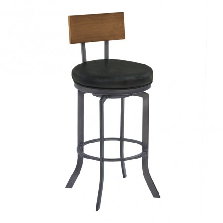 "Ojai 26"" Counter Height Metal Swivel Barstool in Vintage Black Faux Leather with Mineral Finish and Walnut Wood Back"