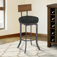 "Armen Living Ojai 30"" Bar Height Metal Swivel Barstool in Vintage Black Faux Leather with Mineral Finish and Walnut Wood Back"