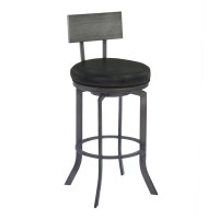 "Armen Living Ojai 26"" Counter Height Metal Swivel Barstool in Vintage Black Faux Leather with Mineral Finish and Gray Walnut Wood Back"