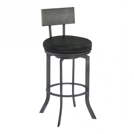 """Ojai 30"""" Bar Height Metal Swivel Barstool in Vintage Black Faux Leather with Mineral Finish and Gray Walnut Wood Back"""