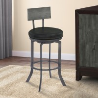 "Armen Living Ojai 30"" Bar Height Metal Swivel Barstool in Vintage Black Faux Leather with Mineral Finish and Gray Walnut Wood Back"