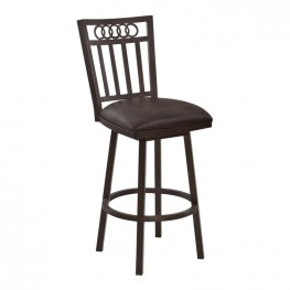 "Armen Living Olympia 26"" Counter Height Metal Swivel Barstool in Bandero Espresso Fabric and Auburn Bay Finish"