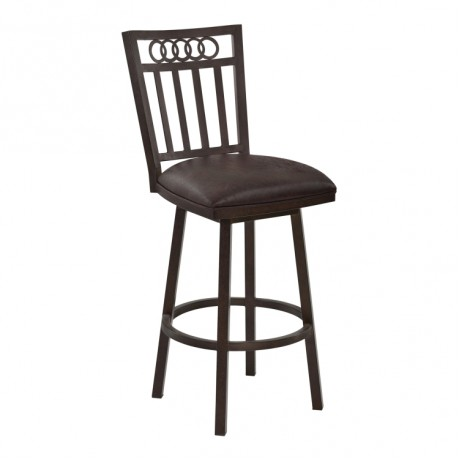"Armen Living Olympia 30"" Bar Height Metal Swivel Barstool in Bandero Espresso Fabric and Auburn Bay Finish"