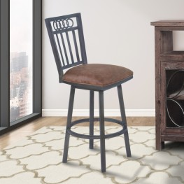 "Armen Living Olympia 26"" Counter Height Metal Swivel Barstool in Bandero Tobacco Fabric and Mineral Finish"