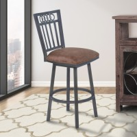 "Armen Living Olympia 30"" Bar Height Metal Swivel Barstool in Bandero Tobacco Fabric and Mineral Finish"
