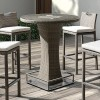 Armen Living Olina Outdoor Brown Rattan Storage Patio Pub Table with Clear Glass Top and Aluminum Base