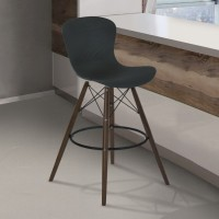 Armen Living Orion Mid-Century Barstool in Walnut Wood with Durable Molded Plastic Black Seat