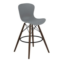 Armen Living Orion Mid-Century Barstool in Walnut Wood with Durable Molded Plastic Gray Seat