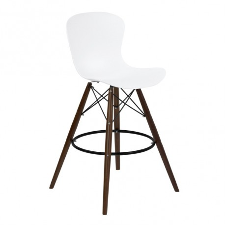 Armen Living Orion Mid-Century Barstool in Walnut Wood with Durable Molded Plastic White Seat