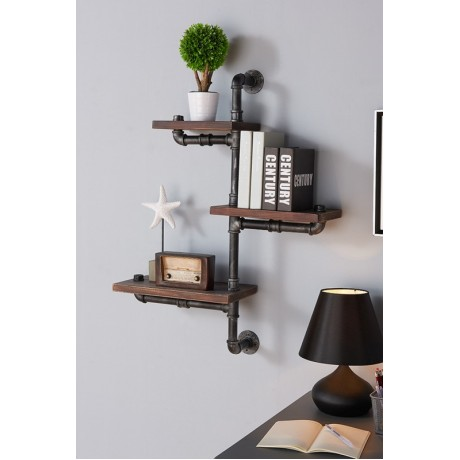 "Armen Living 30"" Orton Industrial Walnut Wood Floating Wall Shelf in Silver Finish"