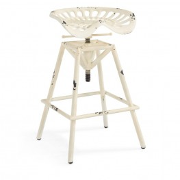 Armen Living Osbourne Adjustable Industrial Metal Barstool in Antique White finish