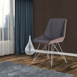 Armen Living Pandora Chair in Chrome finish with Walnut Wood and Charcoal Fabric upholstery