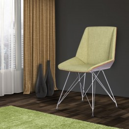 Armen Living Pandora Chair in Chrome finish with Walnut Wood and Green Fabric upholstery