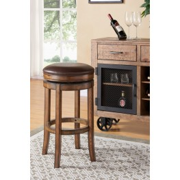 "Armen Living Phoenix 26"" Counter Height Swivel Wood Barstool in Chestnut Finish and Kahlua Pu"