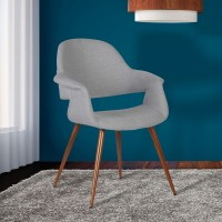 Armen Living Phoebe Mid-Century Dining Chair in Walnut Wood and Gray Fabric