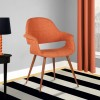Phoebe Mid-Century Dining Chair in Walnut Wood and Orange Fabric