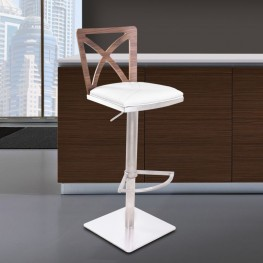Armen Living Pisa Barstool in Brushed Stainless Steel finish with White Pu upholstery and Walnut back