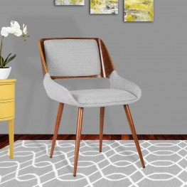 Armen Living Panda Mid-Century Dining Chair in Walnut Wood and Gray Fabric