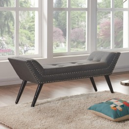 Armen Living Porter Ottoman Bench in Charcoal Fabric with Nailhead Trim and Espresso Wood Legs