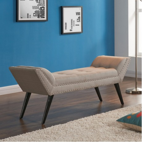 Armen Living Porter Ottoman Bench in Taupe Fabric with Nailhead Trim and Espresso Wood Legs