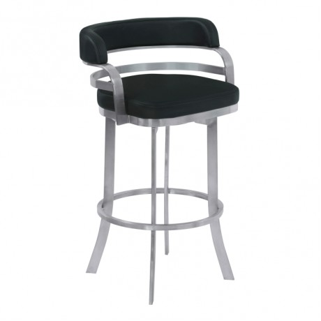 "Armen Living Prinz 26"" Counter Height Metal Swivel Barstool in Black Faux Leather with Brushed Stainless Steel Finish and Gray Walnut Back"
