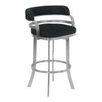 "Armen Living Prinz 30"" Bar Height Metal Swivel Barstool in Black Faux Leather with Brushed Stainless Steel Finish and Gray Walnut Back"