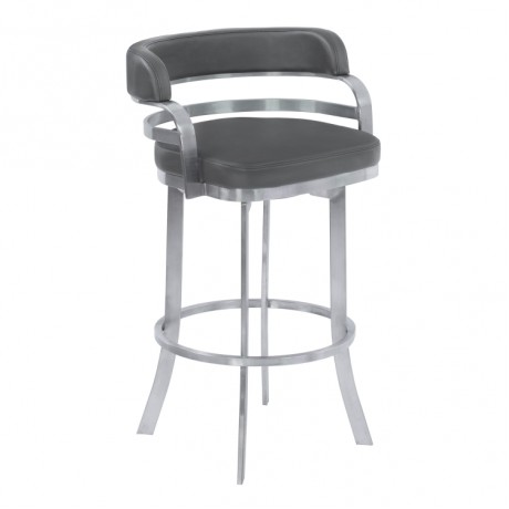 """Prinz 26"""" Counter Height Metal Swivel Barstool in Gray Faux Leather with Brushed Stainless Steel Finish"""