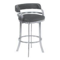 "Armen Living Prinz 30"" Bar Height Metal Swivel Barstool in Gray Faux Leather with Brushed Stainless Steel Finish and Gray Walnut Back"