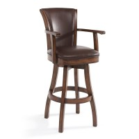 "Armen Living Raleigh Arm 26"" Counter Height Swivel Wood Barstool in Chestnut Finish and Kahlua Pu"